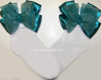 Sparkly Green Socks, Teal Organza Satin Ribbon Bows, Baby Infant Toddler Accessories, Flower Girl Bow Sock, Pageants, 1st First Occasion