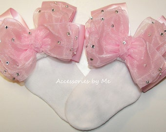 Glitz Pageant Socks, Pink Baby Socks, Infant Socks, Girls Bow Socks, Toddler Child Sizes Accessories, Flower Girl Socks, Custom Color Choice