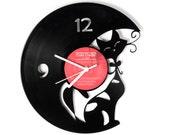 Vinyl clock Cat
