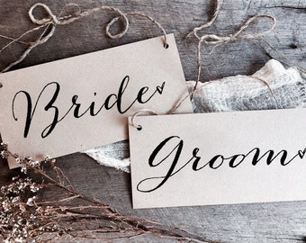 Bride and Groom Signs, Wedding Signs, Kraft Wedding Signs, Rustic Wedding Signs, Wedding Chair Signs, Chair Signs, Reserved Sign