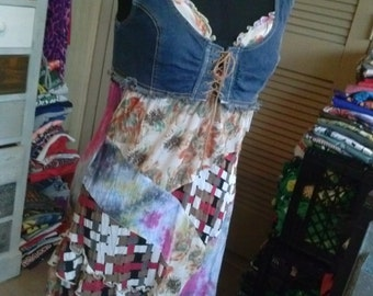 "One of a Kind "" Strawberry Wine "" Slip Dress w Denim Bodice / Small-Medium / 2 pieces/ Peasant Dress / Altered / Refashioned / Upcycled"