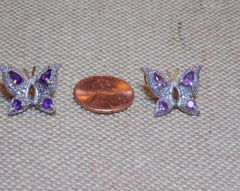 Vintage Sterling Silver Butterflies With Purple Rhinestones