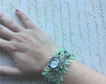 NEW PRICE- Green aventurine watch bracelet by ashley3535