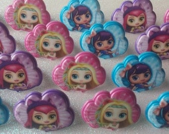 24 LITTLE CHARMERS Hazel Posie Lavender rings for cupcake toppers cake birthday party favors goodie bags Nickelodeon Nick Jr. Charmville 1C