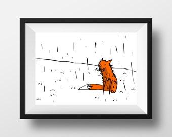 Fox print, quirky illustration, wall art, nursery print, wall art