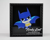 Cutie Batman Framed in 8x8 Shadowbox