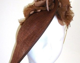 Chocolate Brown Fascinator, Disc Style Hat, Ascot Hat