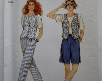 1996 Simplicity 8878 Misses lined vest and pant or shorts  pattern sizes 8 - 18 included UNCUT