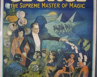 Antique George Supreme Master of Magic Magician Poster 8-Sheet 1920s