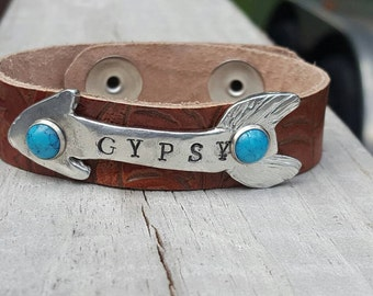 Gypsy Arrow Leather Cuff, boho, festival, cowgirl