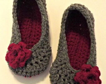 Women's rose slippers size small Great Valentine's Day Gift crochet slippers gray and bright pink