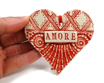 Amore Heart Ornament, Italian Ornament, Bridal Shower Favor, Italian Love Heart, Amore Wedding Favor, Engagement Gift, Valentine Heart