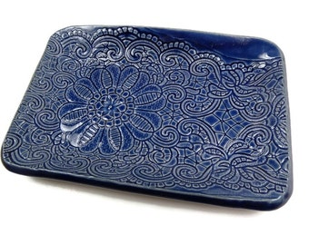 Blue Ceramic Dish, Candy Dish, Something Blue, Jewelry Dish, Blue Pottery Dish, Lace Plate, Blue Kitchen, Blue Home Decor, Cobalt Blue Dish