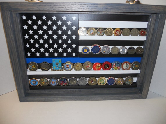 Thin Blue Line Coin Case challenge coin display Police coin