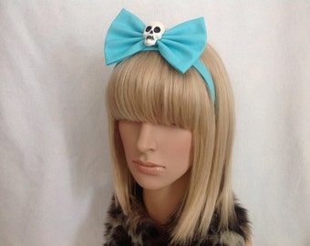 Elmyra Duff large blue skull headband hair bow rockabilly psychobilly cute blue looney toons pin up girl Halloween punk ladies