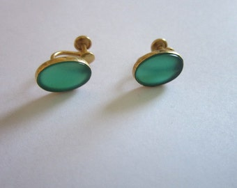Vintage 12 K Gold Filled & Green Stone Screw Back Earrings