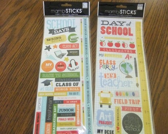 School Days Sticker Sheets/Scrapbook Sheets/