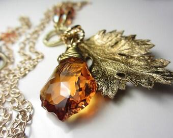 Swarovski Topaz Necklace Golden Amber Necklace Swarovski Yellow Honey Orange Crystal Necklace Natural Leaf Pendant Genuine Chrysanthemum