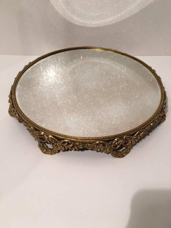 Vintage Round Filigree Amp Brass Mirror Perfume Dresser Vanity