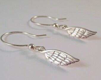 Sterling Silver Angel Wing Earrings, Angel Wing Earrings, Sterling Silver Wing Earrings, Wing Earrings, feather earrings,
