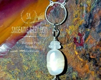 SageAine: Baroque Pearl w/ Sapphire, Moonstone, Sterling Silver Necklace , Bridal, Wedding, Reiki Charged, Crystal Healing