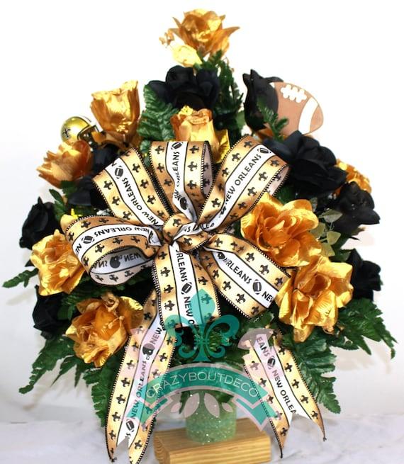 New orleans saints fan vase cemetery flower arrangement