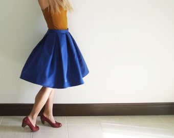 Cobalt blue box pleated skirt,  50s vintage retro style a-line skirt