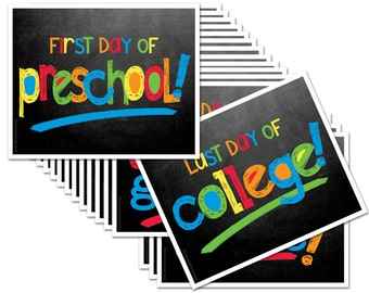 Last Day & First Day of School Sign - ENTIRE series Preschool thru College (16 grades), Fits any 8x10 Frame [Item BTS-1009]