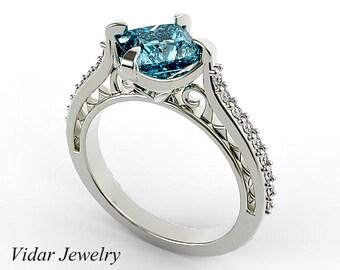 Engagement Ring,Swiss Blue Topaz Engagement Ring,Diamond Engagement Ring, Bridal,Wedding,Blue,white gold,Unique Engagement Ring,Princess Cut
