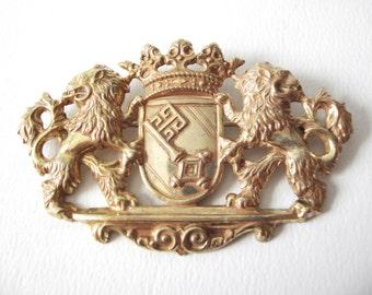 Vintage Miriam Haskell Gilt Heraldic Lion Crown Brooch