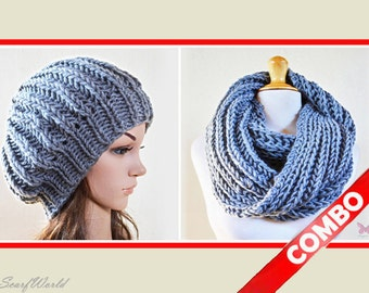 COMBO - GREY Infinity scarf / cowl with GREY slouchy beanie hat - Wool Blend, chunky, fashion, accessories