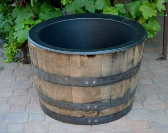 1/2  Planter Whiskey Barrel with Liner