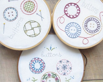 Buttons Embroidery Samplers - 3 PDF Embroidery Patterns - Hand Embroidery