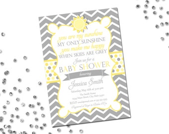You Are My Sunshine Baby Shower Invitation - Large Chevron Stripes - Sun - Grey and Yellow - Printable