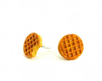 Waffle Earrings, Quirky Earrings, Breakfast Jewelry, Stranger Things, Waffle Jewelry, Eggos, Miniature Food Earrings, Geekery Fun Gag Gift