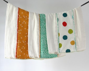 Organic Baby Burp Cloth Gift Set of 3, Colorful Mod Dots, Orange Wink and Pond Firefly