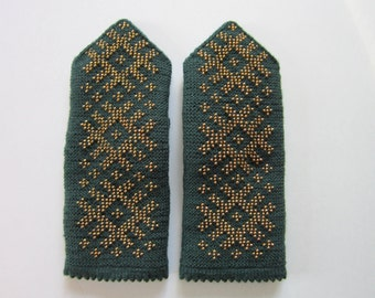 Hand Knit Mittens Double Green Mittens With Gold Beads for Womens Wool  Mittens Knitted Beads Warm Winter Mittens