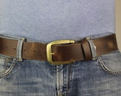 """Men's Brown Genuine Leather Belt Changeable Extra Wide Distorted 1.7"""" inch 4cm XL XXL 5102"""