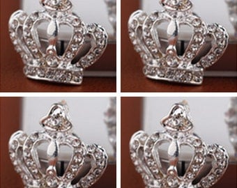 4 Flat Back Crown Rhinestone Button (21x20 mm) BL-055
