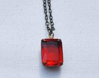 Red jewel pendant Ruby red necklace Scarlet jewelery Red jewelery