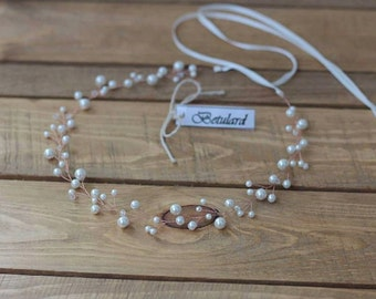 Cyrstal Ivory Pearl Bridal Hair Vine Wedding Headband