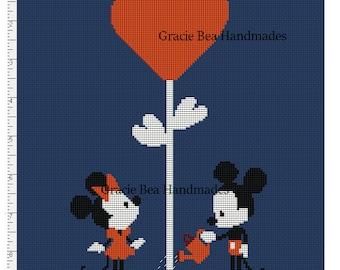 Mickey Mouse Love Garden Cross Stitch PDF Pattern