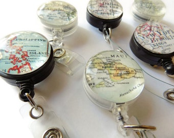 Personalized Id Badge Reel, Custom Retractable Map Badge Gift, Personalized Badge Reel Holder, Id Tag, Map Badge, Nurse Gift, Badge Clip