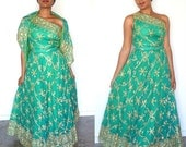 Reserved Looloo 50s 60s Emerald Green Sari Dress Floor Length Gown Medium