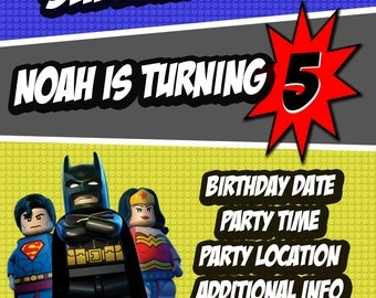 Lego Justice League Invitation, Batman, Superman, Wonder Woman