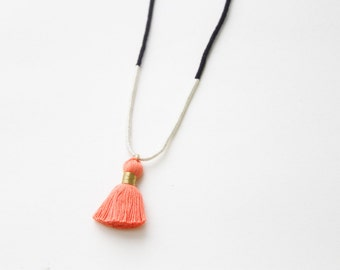 Tassel Necklace Embroidery Thread Necklace Peach Tassel, Navy, and Ivory Necklace Boho Jewelry Tassel Jewelry