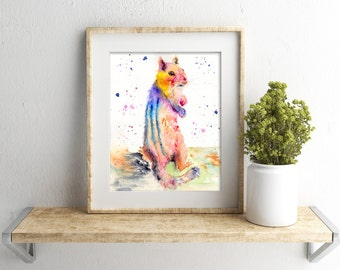 Colorful chipmunk spirit animal wall art nursery fine art animal print by Ellen Brenneman