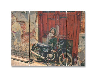 22x16 Painted Dreams, Graffiti Boy on Motorcycle, Outdoor Safe Wall Art (PD2216)