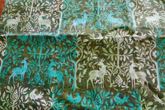 vintage home decor fabric vintage cotton home decor fabric green deer and trees 11797