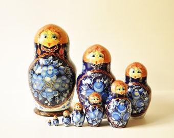 10 Vintage Russian Nesting Dolls - Matryoshkas - Large Size - Christmas Gift